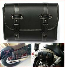Motorcycle Leather Saddle Bag Storage Pouch - Tool Bag for Harley Davidson Bike