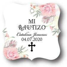 24 Mi Bautizo Floral Personalized Favor Tag