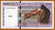 SPECIMEN West African States, Senegal, 2500 (2,500) Fr, P-712Ks UNC