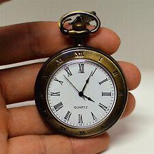 Dial Men/Women Quartz Pocket Watch Bronze Pendant Vintage Chain Necklace Roma