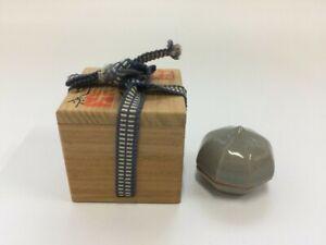 T0072 Japanese Pottery Incense Case Kogo Vintage Simple Tea Ceremony Wooden Box