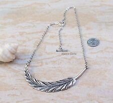 Stunning Large Silver tone Feather Pendant Necklace new