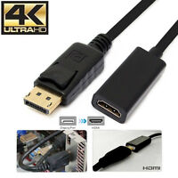 Gold DP DisplayPort 1.2 to HDMI 2.0a 4k@30hz Adapter For HDTV PC Dell/HP