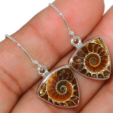 """Fossil"" Ammonite - Madagascar 925 Sterling Silver Earring Jewelry AE143704"