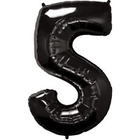 "40"" Giant Black Five Year Old Baby First Birthday 5 Month Number Float Balloon"