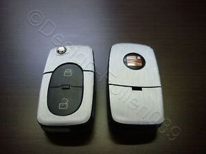 Silber Brushed Dekor Schlüssel Folie  Seat leon Golf Passat VW Bora Polo Skoda