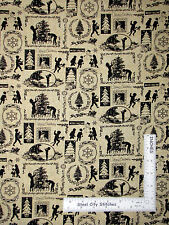 Christmas Holiday Children Tree Silhouette Cotton Fabric Benartex #4685M6 - Yard
