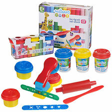 10 PC Creative Kids Play Dough Craft Gift Set 5 Tubs Roller Moulds & Press XMAS