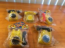 Lot Of 5 Vintage Toy Novelty Dime Store Telephone With Bell Sealed Hong Kong