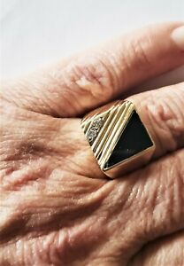 Handsome Men's 14K Gold Signet Ring Diamond Sz 9 MCM Geometric Black Onyx 9.5 Gr