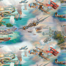 David Textiles FLIGHT OF FREEDOM WWI WWII Fighter Bomber Aircraft Fabric - Multi