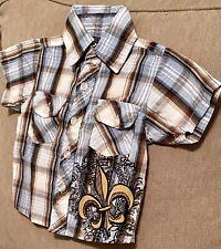 Baby Boy, Urban Extreme, Shirt Fleur de Lis, Plaid Collar Button Down Size 3-6 M