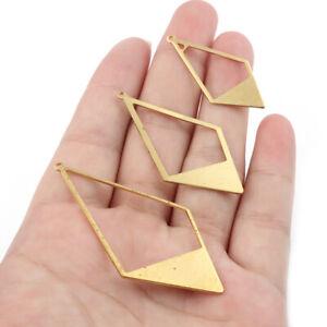 10X Raw Brass Geometric Frame Hanging Earrings Charms Pendant For Handmade Craft