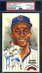 Ernie Banks PSA DNA Coa Signed Perez Steele Postcard Autograph