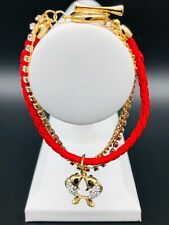 Red Leather, Gold Plated Chain, Rhinestone Chain Bracelet - Double Fish Charm
