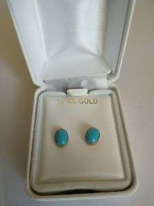 14kt gold earrings with turquoise stones new