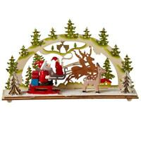 Mid West Wood Santa in Sleigh with Reindeer Christmas Eve Scene