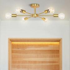 6-Lights Industrial Sputnik Chandelier Modern Semi Flush Ceiling Lamp Fixtures