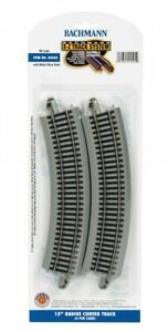 "Bachmann 44505 15"" Radius Curved Nickel Silver E-Z Track Grey  (4/card)"