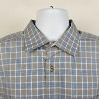 David Donahue Gray Blue Check Plaid Mens Dress Button Shirt Size 17.5 36/37