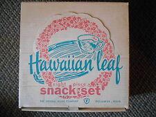 Old Vintage Hawaiian Leaf 8 Piece Snack Set & Original Box Federal Glass Clear