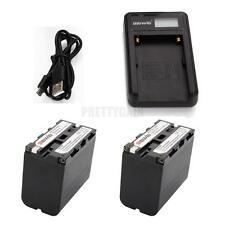 NP-F970 LCD Battery Charger w/ 2pcs 6900mAh Replacement Li-ion Battery for Sony