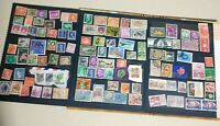 Old Stamp Collection Worldwide 100 VERY OLD with ALBUM USED STAMPS.1855s- 1980s