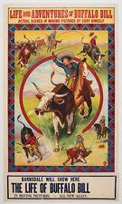 Buffalo Bill 1910 stone litho original vintage movie poster Cowboy Wild West