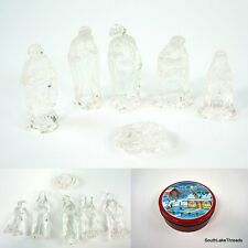 """6 Piece 4"""" Glass Nativity Scene Set Christmas Holiday Decorations With Tin"""