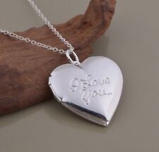 925 Sterling Silver I Love You Heart Photo Locket Charm Pendant Necklace Chain