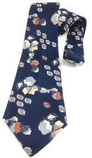 Vintage Necktie Wide Neck Tie Gold Boho Navy Blue Made In Malta 70's Retro Fine