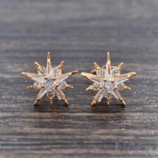 Fashion Women Gold Plated Clear Zirconia CZ Stars Stud Earrings Jewelry