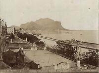 Italia Palermo Foro Italico Monte Pelegrino Incorporato Vintage Albumina Ca 1875