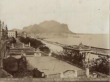Italie Palerme Foro Italico  Monte Pelegrino Incorpora Vintage albumine ca 1875