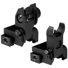 Iron Sights Premium Flip Up Front Rear Rifle Gun Set Flattop Picatinny Rails