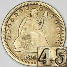 1845/845 SEATED QUARTER - VERY RARE OVERDATE FS-301 VF/XF PRICED FOR QUICK SALE!