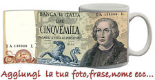 TAZZA 5000 lire  banconote lira  italia PERSONALIZZATA CON FOTO IDEA REGALO