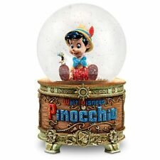Disney Store Snowglobe PINOCCHIO Plays Wish Upon a Star Snow Globe In Box NEW