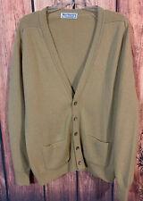 Burberry Vintage Cardigan Sweater Tan Men's Merino Wool Made Scotland Size L 42