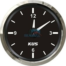 KUS Boat Marine Car RV Truck Hour Quartz Clock Gauge Dial 12 Hour 12V/24V