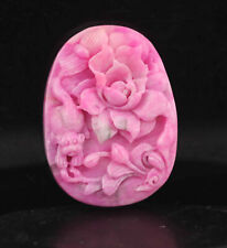 Old natural DUSHAN jade hand-carved flower pendant natural pink