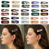 2PCS Fashion Set Women Acrylic Hair Slide Clips Snap Barrette Hairpin Pins