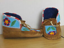 FOREST FLOWER FULL BEAD MOCCASINS, BEAUTIFUL BLUE 10 INCHES, MOOSE HIDE LEATHER