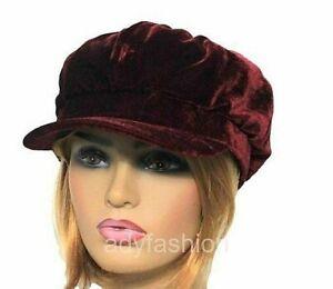 Womens Baker Boy Hat BURGUNDY Faux Velvet Ladies Newsboy Cap Quality