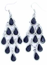 Silver and black drop chandelier earrings. 7cm long, nice movement