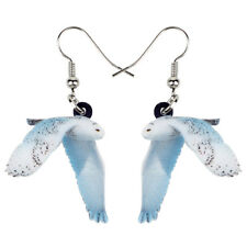 Acrylic Flying Snowy Owl Bird Earrings Drop Dangle Animal Jewelry For Women Gift