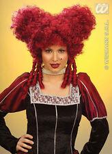 BIG LADIES DARK RED BURGUNDY SILLY WIG MEDIEVAL LADY HALLOWEEN WITCH FANCY DRESS