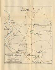 Carte/plan de bataille ~ willems 10th mai 1794 ~ gruson cysoing baisieux Tressin etc