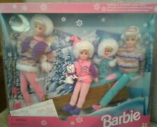 NIB BARBIE DOLL 1995 WINTER HOLIDAY SLEDDING FUN GIFT SET STACIE KELLY SKIPPER