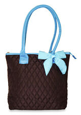 Mini Small Solid Blank Quilted Tote Bag Purse Handbag Bow Tiny Brown Blue